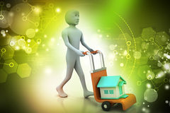 Person carrying house in trolley Stock Image