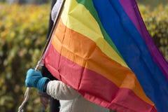 Person Carrying Rainbow Flag fotografía de archivo
