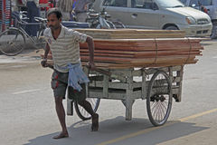Person Carrying Wooden Planks. On a Barrow, India Royalty Free Stock Images