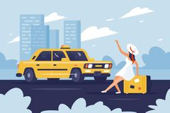 Person catching taxi on the road next to the city. Concept young girl with baggage in trip. Vector illustration royalty free illustration