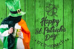 Person celebrating st patricks day. In front of green wood Stock Images