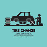 Person Changing Automobil Wheel Tire stock illustratie