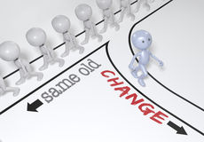 Person choice change go new path. One person makes a change to a new different direction from crowd of people Stock Photography