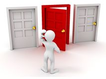 Person chooses door. On white background. 3d Royalty Free Stock Photography