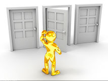 Person chooses door Royalty Free Stock Photography