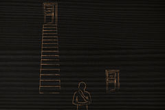 Person choosing between Hard work vs easy path with door up stai. Doubtful man in front of door leading to hard work up a set of stairs and Easy Path door on Stock Image