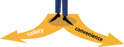 Convenience vs safety. Person choosing between safety and convenience, EPS 8 vector illustration, no transparencies royalty free illustration