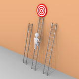 Person is choosing to climb the right ladder. 3d person is climbing the ladder that leads to the target Royalty Free Stock Photography