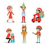 Person and Christmas season, People with Christmas. Vector Illustration Stock Photo