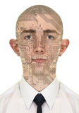 Person with a circuit computer skin. On white background Stock Photos