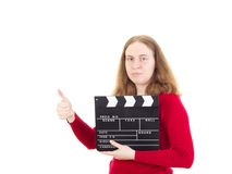 Person with clapperboard showing thumb up Stock Image