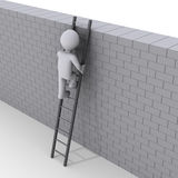 Person climbing ladder over a wall. 3d person climbing ladder over a brick wall Stock Image
