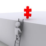 Person climbing ladder for solution. 3d person climbing ladder to get a red puzzle piece Stock Photo