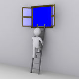 Person climbing ladder to look out of window. 3d person climbing ladder to look out of open window Royalty Free Stock Image