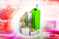 Person climbing ladder using  up to  bar chart. 3d man, person climbing ladder using  up to  bar chart Stock Image