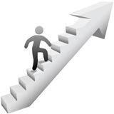 Person climbing stairs to success. Person climbing up self improvement stairway arrow to success stock illustration