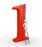 Person climbing to be on top of the number one. 3d person is climbing a ladder that leads at the top of the number one Royalty Free Stock Images