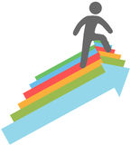 Person climbs up success direction arrows. Successful person climbing up steps of arrow symbols to progress royalty free illustration