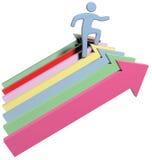 Person climbs up success progress arrows. Person climbing up steps of success and progress as arrow symbols royalty free illustration