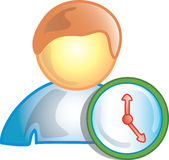 Person on the clock icon. Person on the clock or timeclock symbol Royalty Free Stock Photography