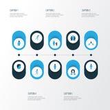 Person Colorful Icons Set Sammlung Mensch, Kind, Kontakt und andere Elemente Schließt auch Symbole wie Kopf ein Stockfotografie