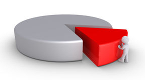 Person is completing a pie chart. 3d person is pushing a piece of a pie chart Stock Image