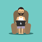 Person at the computer in a chair a  illustration Stock Images