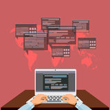 The person at the computer, the concept of work in network, development of program providing. Stock Photography