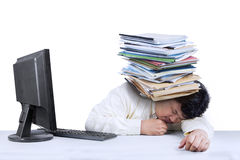 Person with computer and documents Royalty Free Stock Photography