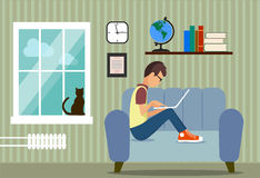 Person at the computer in a house situation an illustration Stock Image
