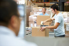 Person At Computer Terminal In Distribution Warehouse. Working stock images