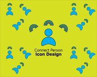 Connect person icon or logo design flat style on green background style royalty free illustration