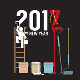 Person Constructing New Year 2017. Person Constructing New Year 2017 Vector Illustration Royalty Free Stock Photos