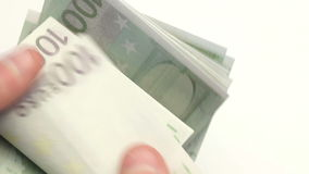Person counting euro bills Stock Photo