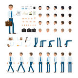 Person Creation Set in Simple Cartoon Design. Person creation set. Man with bag and list of paper. Icons with different types of faces, emotions, clothes. Front Royalty Free Stock Photo
