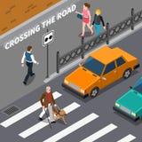 Person On Crosswalk Isometric Illustration aveugle Photographie stock