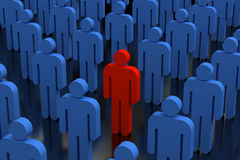 Unique person in crowd Royalty Free Stock Photos