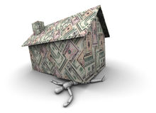 Person Crushed Under House Made of Money. High resolution 3D illustration of mannequin trapped under house made of $100 U.S. dollar bills Royalty Free Stock Images