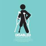 Person With Crutch Black Symbol disabile Fotografia Stock Libera da Diritti