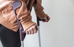 Person on crutches Royalty Free Stock Photography