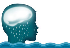 Person crying over rain and flood. Royalty Free Stock Photography