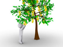 Person cutting dollar from tree of dollars. 3d person is cutting dollar sign from tree of dollars Stock Image