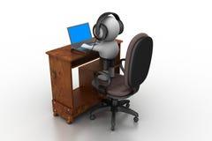 Person 3d, die mit Kopfhörern mit Mikrofon und Laptop arbeitet. Stockfotografie