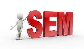 Person 3d, die mit sem-Suchmaschinemarketing steht Lizenzfreie Stockfotografie