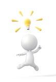 Person 3D findet eine großartige Idee mit Glühlampe. Lizenzfreies Stockfoto