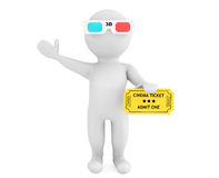Person in 3d glasses with Cinema Ticket Royalty Free Stock Photography