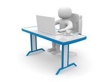 Person 3d. Leute zu einem Büro und zu einem Laptop Stockfoto