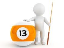 person 3d med biljardbollen och stickreplik Royaltyfri Fotografi