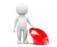 person 3d med den röda diamanten Arkivfoto