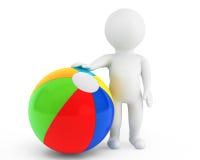 person 3d med en strandboll Fotografering för Bildbyråer
